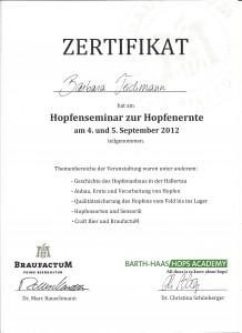 Barbara Teichmann Die BierVersteherin Zertifikat Hopfenseminar 2012