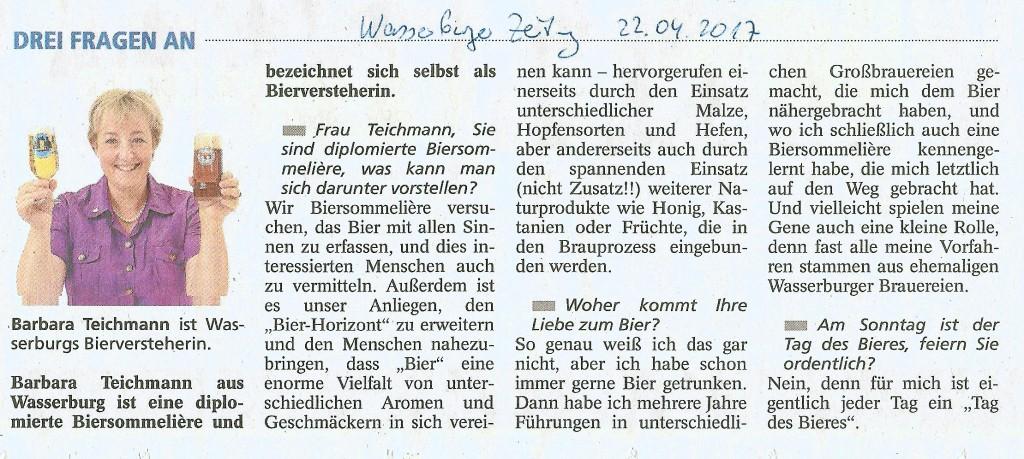 Barbara Teichmann aus Wasserburg Die BierVersteherin Pressebericht 20170422